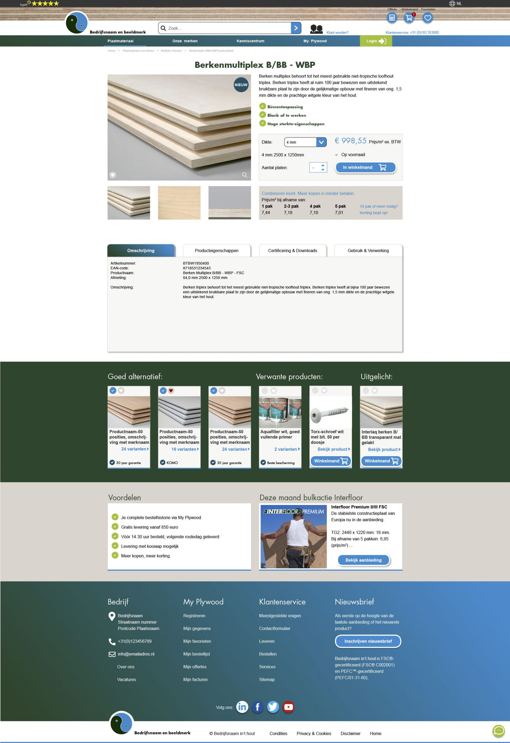 ontwerp product detail page webshop